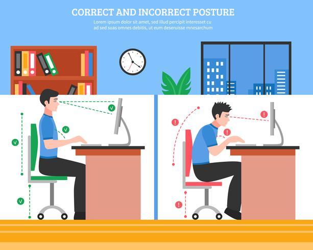 Épine dorsale assise Illustration de postures vecteur