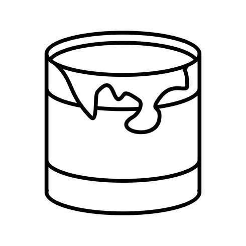 Boîte de peinture Ligne Icône noire vecteur