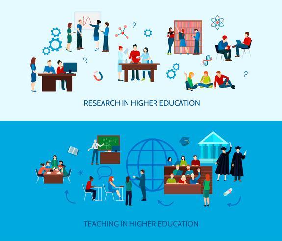 Bannières horizontales d'apprentissage universitaire vecteur