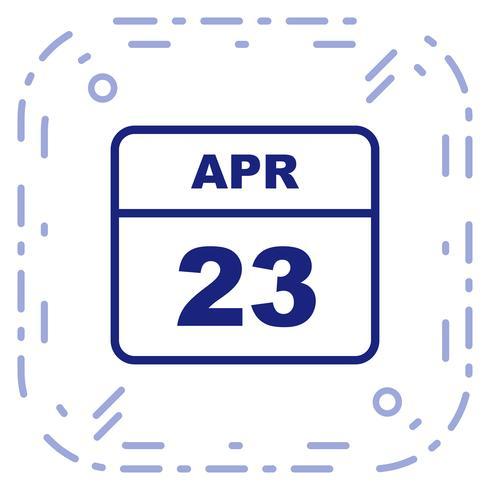 23 avril Calendrier d'une journée vecteur