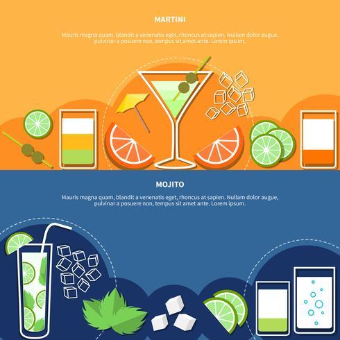 Bannières horizontales cocktail vecteur