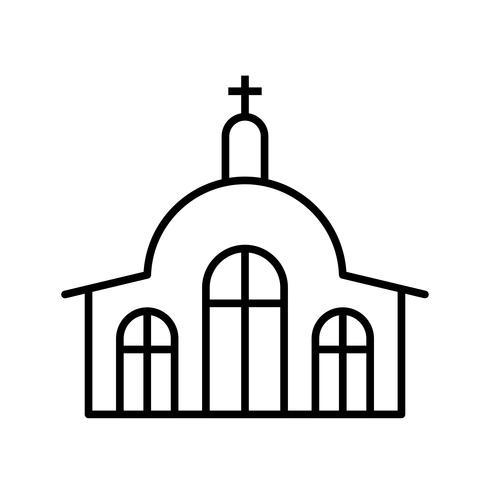 ligne d'église icône noire vecteur