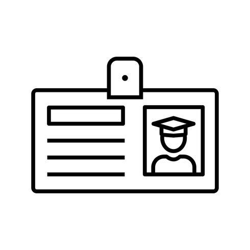 Carte d'identité d'étudiant Line Black Icon vecteur