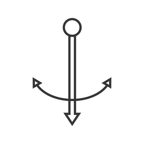 Icône d'ancre de ligne noire vecteur