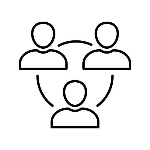 Icône de ligne d'utilisateurs noir vecteur