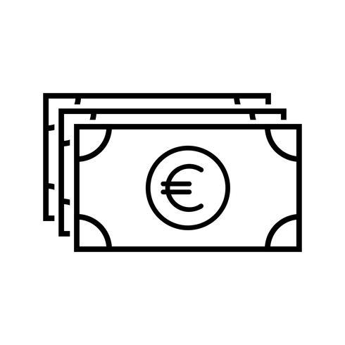 Icône de ligne de monnaie noir vecteur