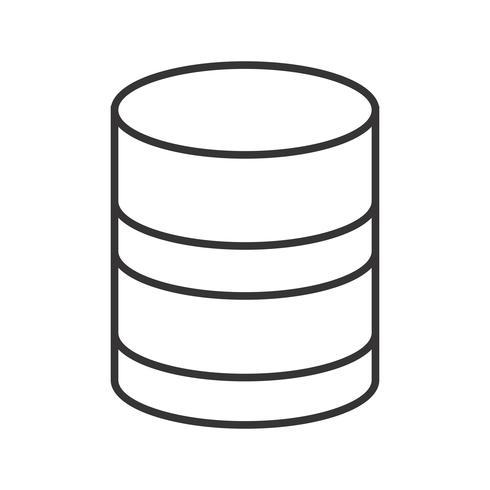 Icône de ligne de base de données noir vecteur