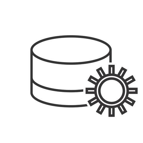 Icône de ligne de réglage de base de données noire vecteur
