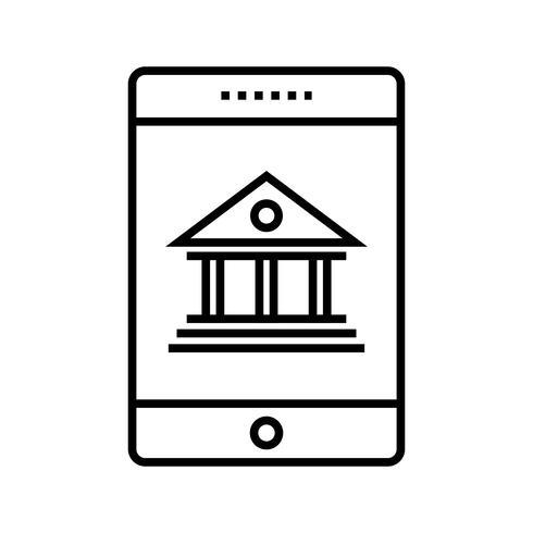 Ligne bancaire mobile Icône noire vecteur