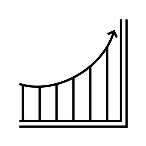 Graphique croissant Ligne Icône noire vecteur