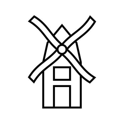 Icône de moulin à vent noir vecteur
