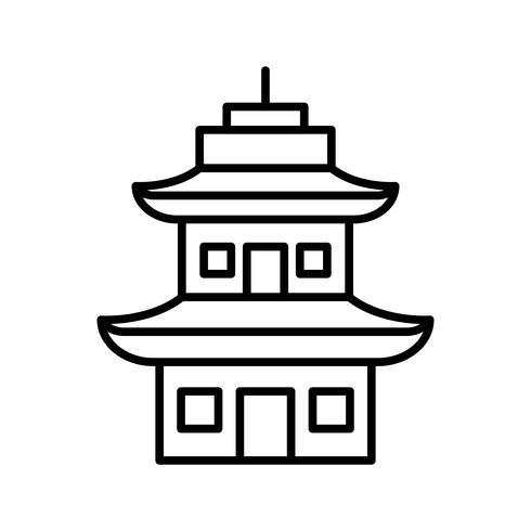Icône ligne noire temple vecteur