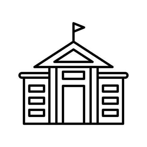 icône ligne noire université vecteur