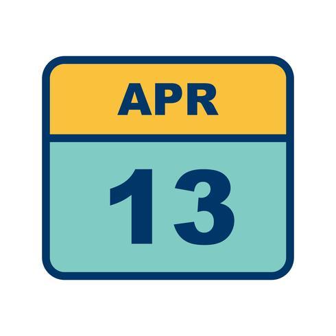 13 avril Date sur un calendrier d'une journée vecteur