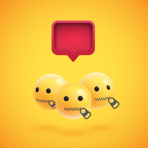 Groupe d'émoticônes jaunes détaillées avec une bulle de dialogue 3D, illustration vectorielle vecteur