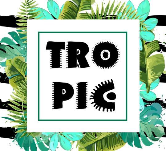 Fond exotique avec des feuilles tropicales. vecteur