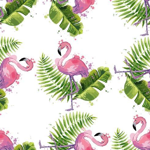 Flamant rose vecteur avec des feuilles tropicales exotiques. Modèle sans couture.