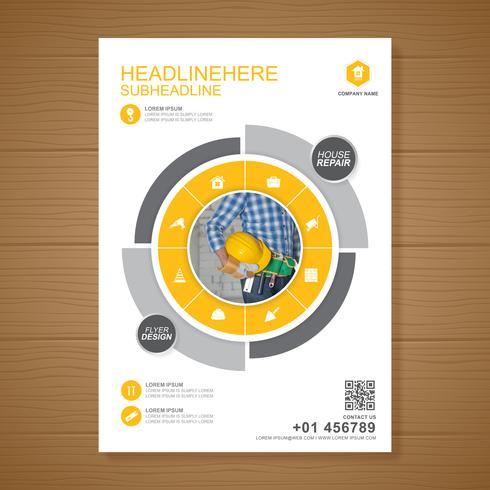 Les outils de construction couvrent un modèle a4 et des icônes plats pour une conception de rapport et de brochure, dépliant, bannière, décoration de tracts pour illustration vectorielle de présentation et d'impression vecteur