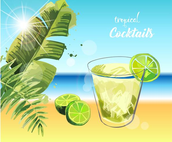 Cocktail tropical. Illustration de vacances d'été. vecteur