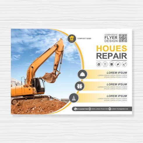 Modèle de couverture A4 excavatrice ou bulldozer pour la conception de brochure de construction, flyer, décoration de tracts pour illustration vectorielle de présentation vecteur