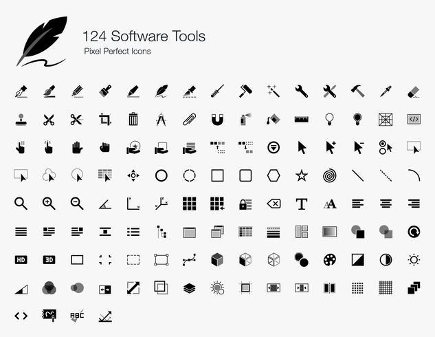 124 Outils logiciels Pixel Perfect Icons. vecteur