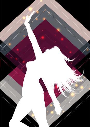 Silhouette féminine sur un fond abstrait vecteur