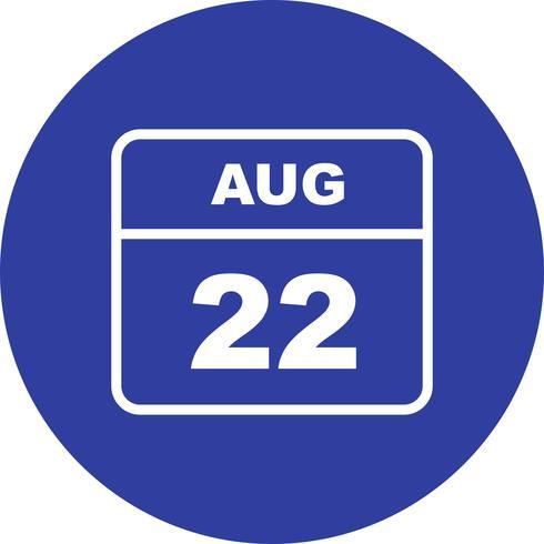 22 août Calendrier d'une journée vecteur