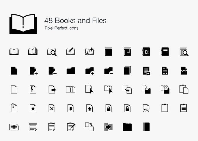 48 Livres et fichiers Pixel Perfect Icons. vecteur