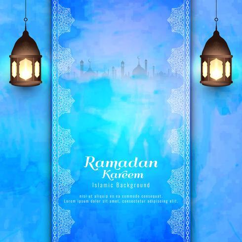Abstrait Ramadan Kareem islamique fond bleu vecteur