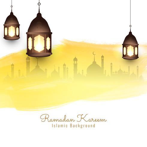 Abstrait aquarelle religieuse Ramadan Kareem vecteur