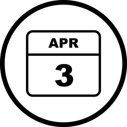 3 avril Date sur un calendrier d'une journée vecteur