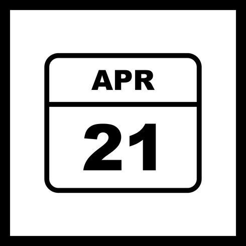 21 avril Date sur un calendrier à jour unique vecteur