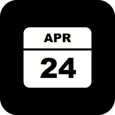 24 avril Calendrier d'une journée vecteur