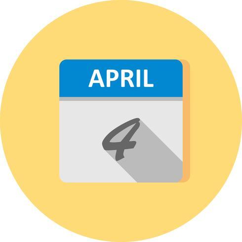 4 avril Date sur un calendrier d'une journée vecteur