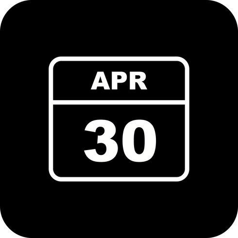 Calendrier du 30 avril sur un seul jour vecteur