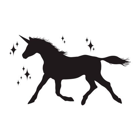 Silhouette de licorne magique, icônes élégantes, vintage, fond, tatouage de chevaux. vecteur