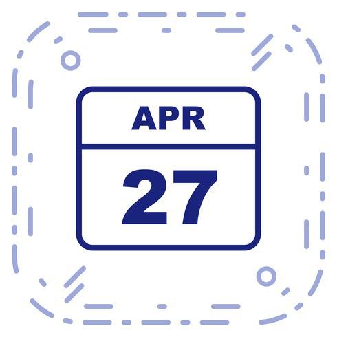 27 avril Calendrier d'une journée vecteur