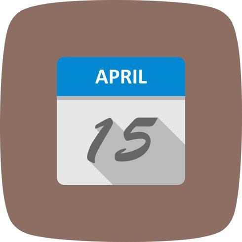 15 avril Date sur un calendrier d'un jour vecteur