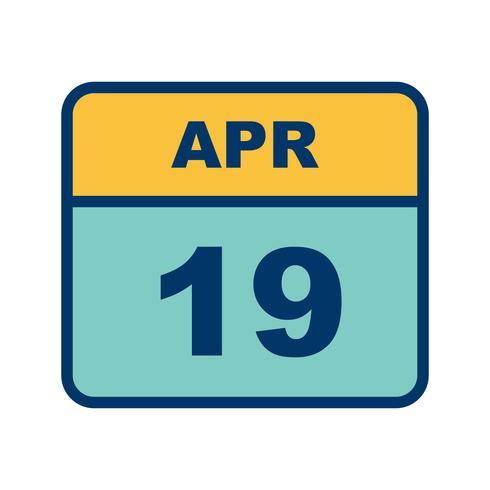 19 avril Date sur un calendrier d'une journée vecteur
