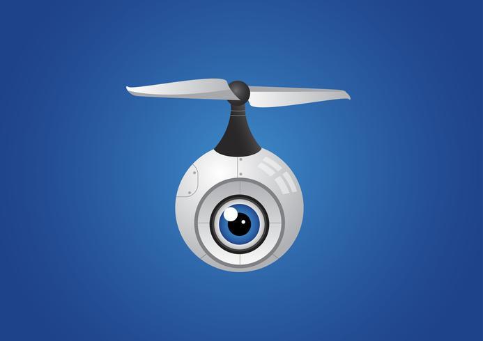 drone aérien à hélice avec caméra pour la photographie ou la surveillance vidéo. vecteur
