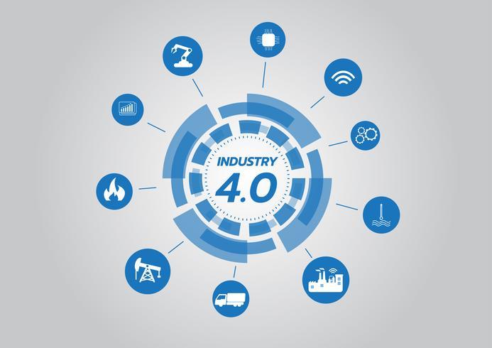 Icône du concept Industry 4.0, réseau Internet des objets, solution d'usine intelligente, technologie de fabrication, robot automatisé avec fond gris vecteur