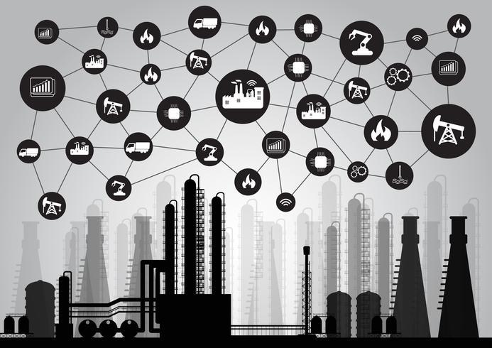 Concept de l'industrie 4.0, réseau Internet des objets, solution d'usine intelligente, technologie de fabrication, robot d'automatisation vecteur