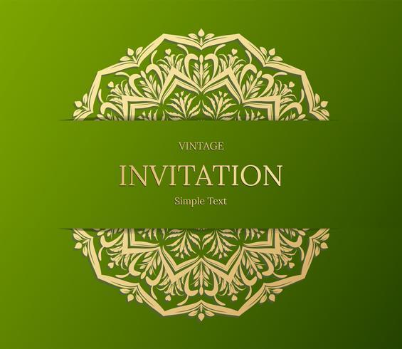 Conception élégante de carte Save The Date. Modèle de carte invitation floral vintage. Mandala de luxe swirl saluant les cartes or et verte vecteur