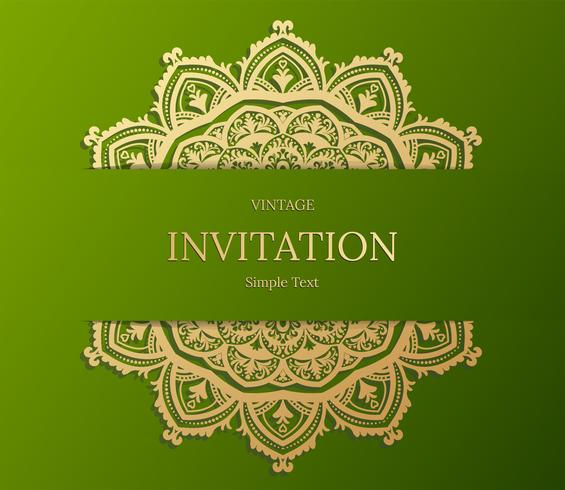 Conception élégante de carte Save The Date. Modèle de carte invitation floral vintage. Mandala de luxe swirl saluant les cartes or et verte vecteur