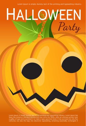 Affiche de fête d'Halloween de vecteur. Citrouille vecteur