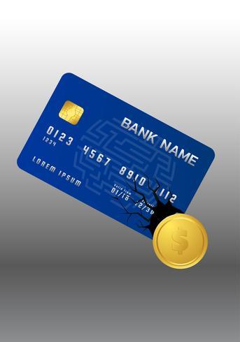 Baisse de pièce d'or de carte de crédit. vecteur