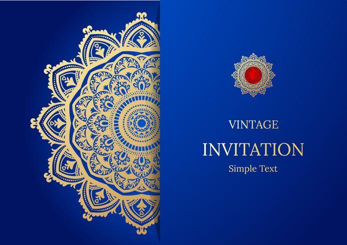 Conception élégante de carte Save The Date. Modèle de carte invitation floral vintage. Mandala de luxe swirl saluant les cartes or et bleue vecteur