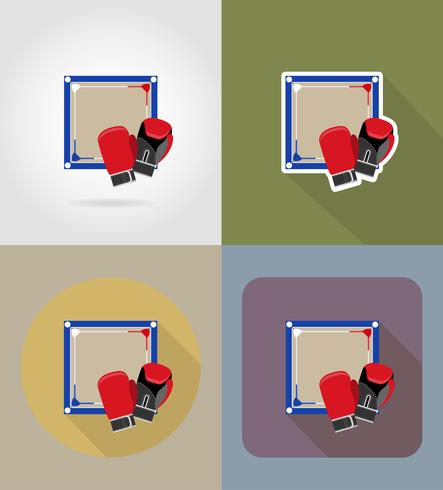 ring boxing icônes plates vector illustration
