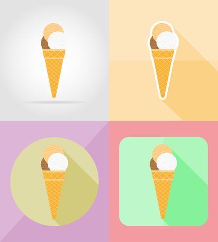 icônes plat de crème glacée vector illustration
