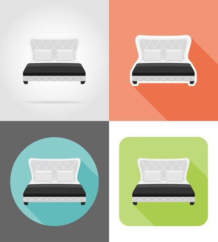 mobilier de lit mis icônes plates vector illustration